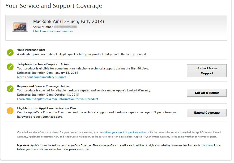 Kiểm tra bảo hành macbook