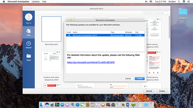 update Microsoft Office for mac osx