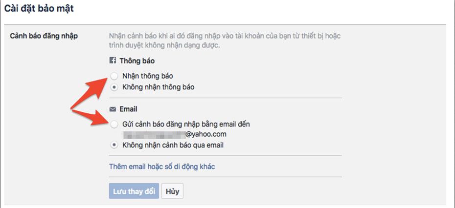 Cảnh báo đăng nhập tài khoản facebook