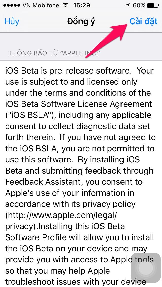 cập nhận ios mới nhất cho iphone