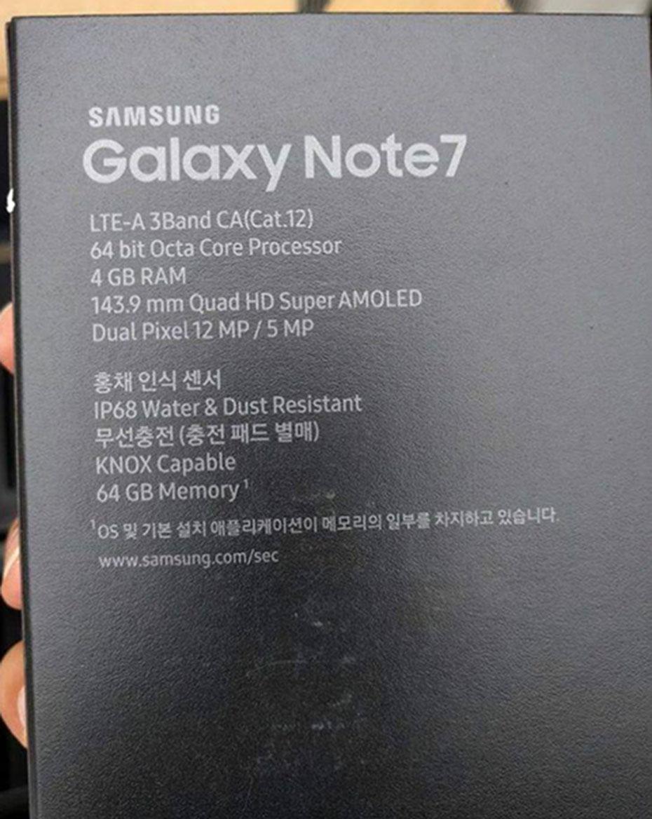 cấu hình Galaxy Note 7