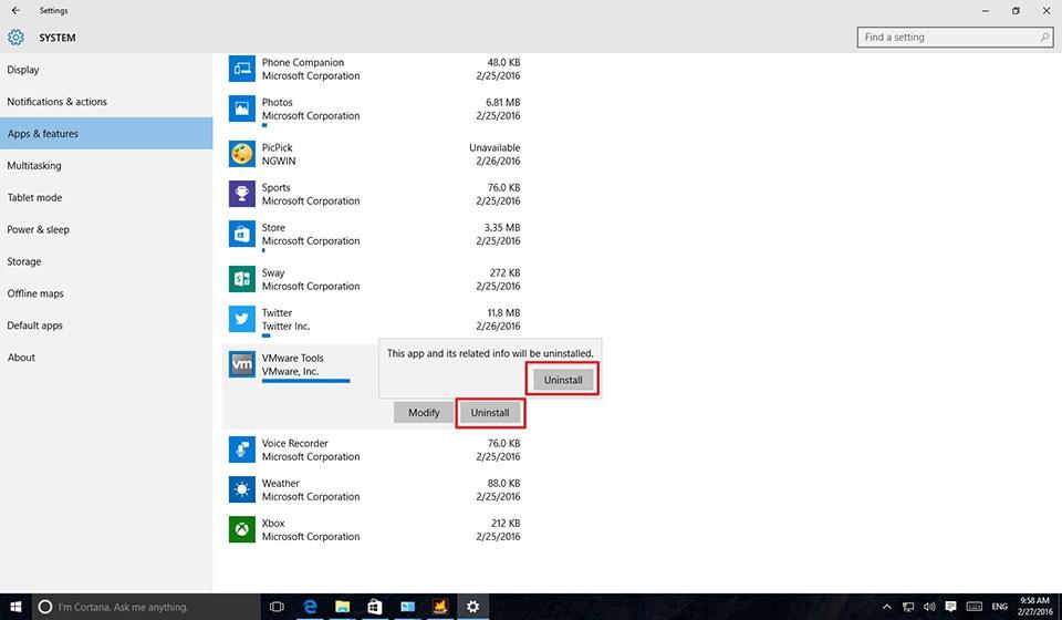 gỡ bỏ ứng dụng trên windows 10