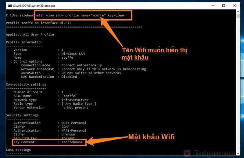 mật khẩu wifi trong windows 10