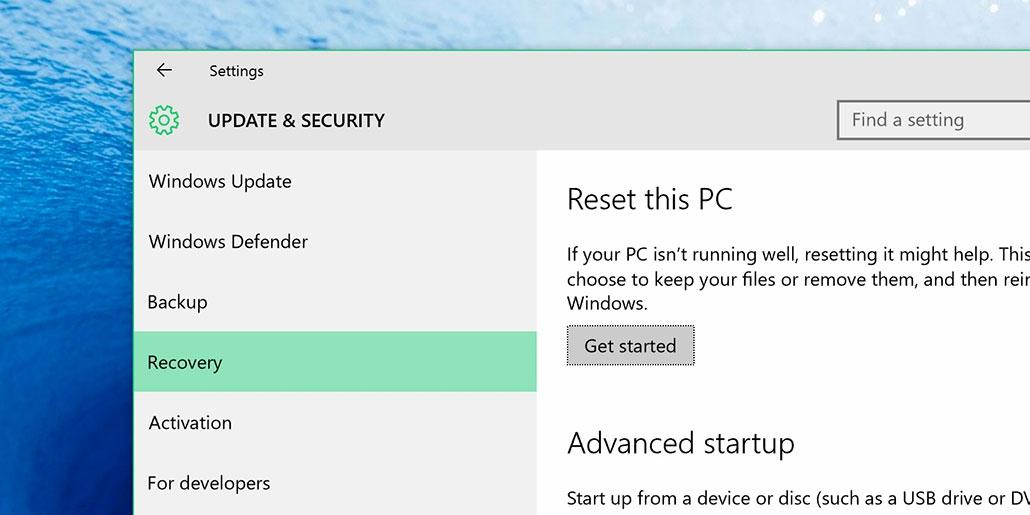 hướng dẫn reset windows 10