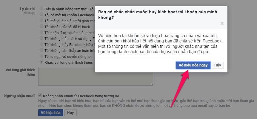 vô hiệu hóa facebook