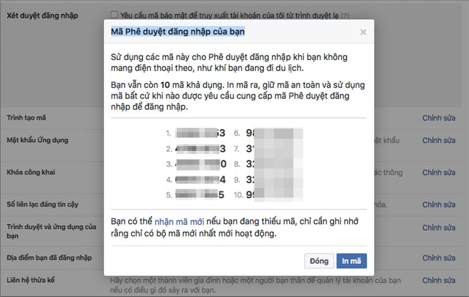 Mã phê duyệt đăng nhập tài khoản Facebook