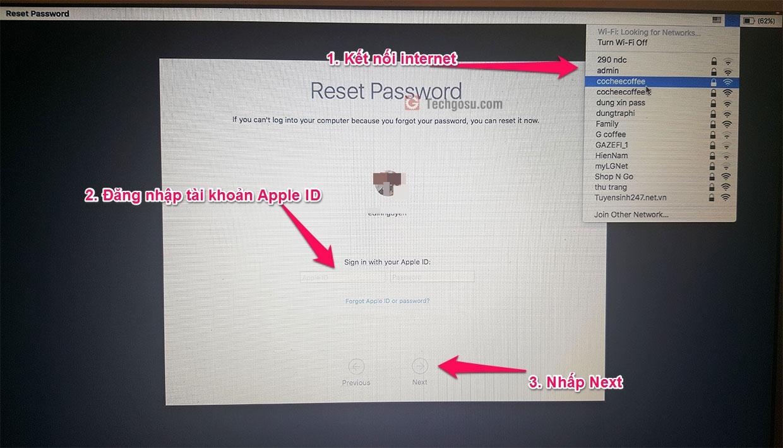 reset mật khẩu macos