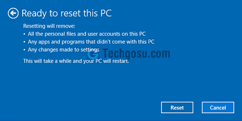 reset windows 10 laptop