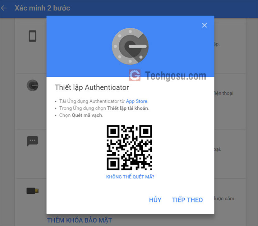 quét mã authenticator