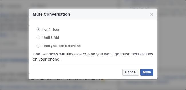 tắt tạm thời thông báo facebook