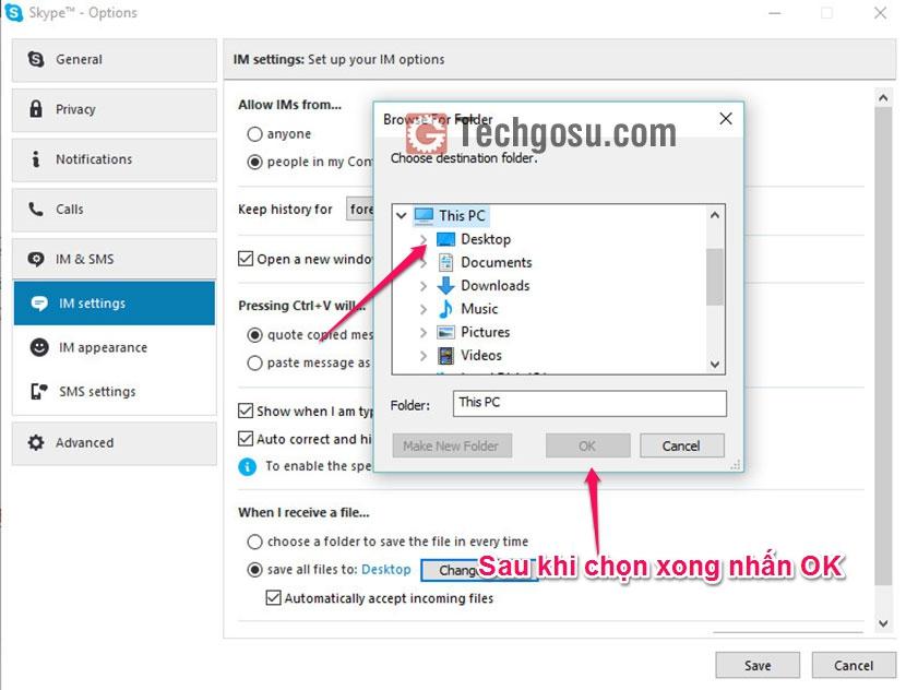 chọn folder lưu file skype