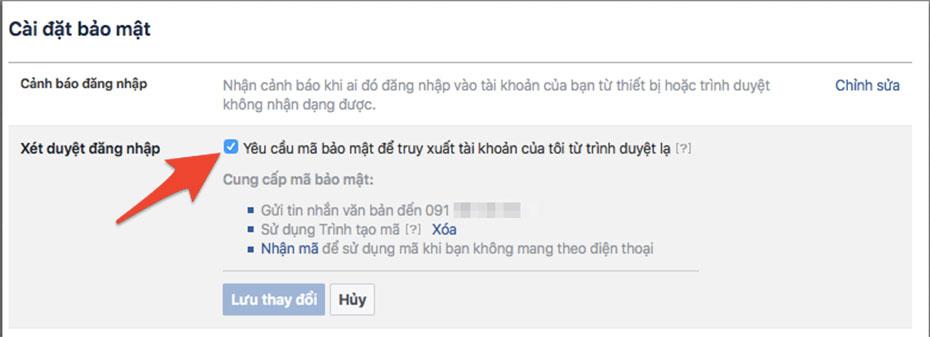Xét duyệt đăng nhập tài khoản facebook