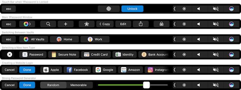 1password của touchbar trên macbook 2016