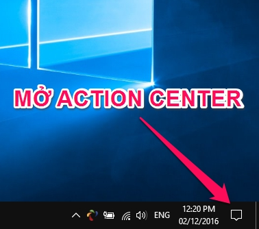 mở action center windows 10