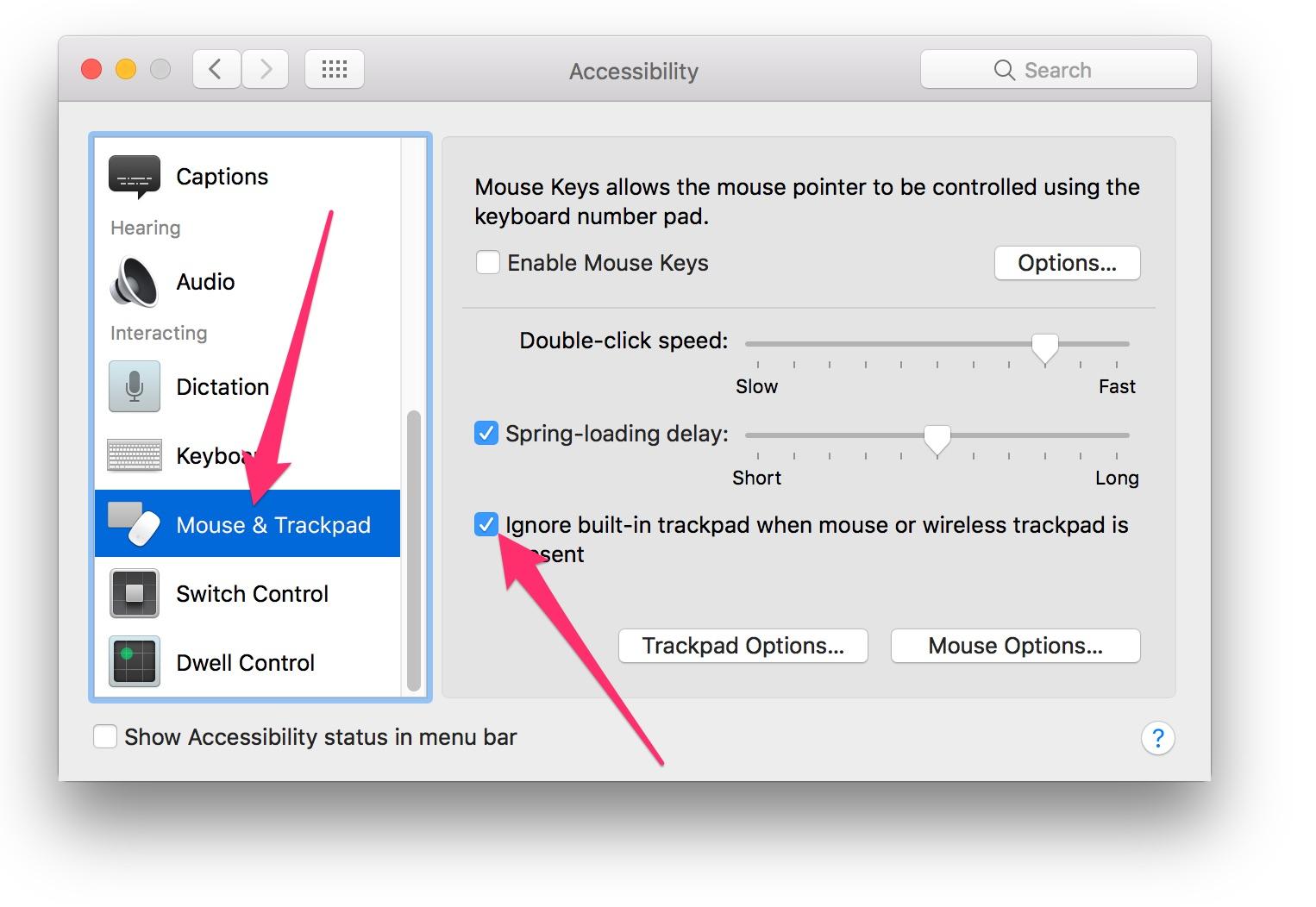 tắt trackpad trên mac osx