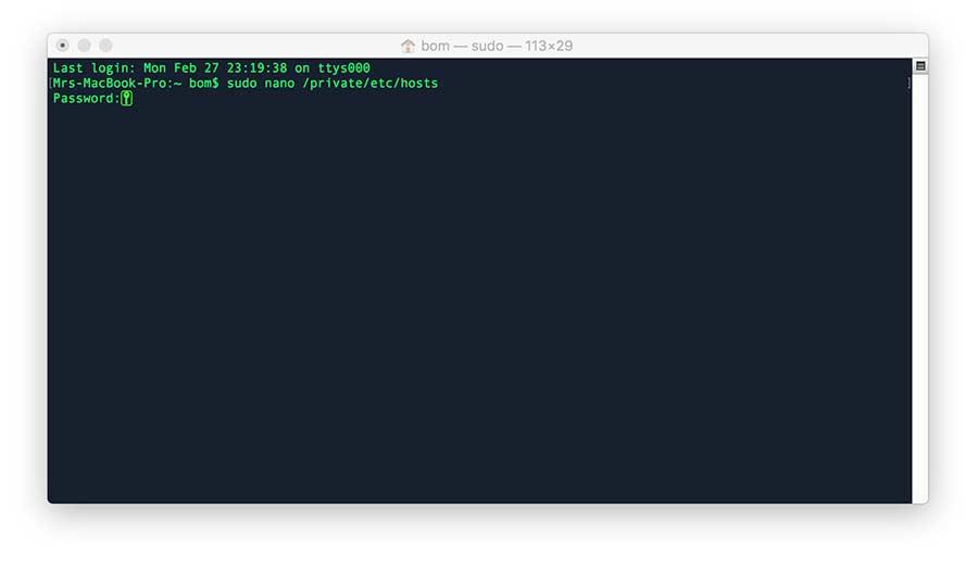 chỉnh file host trên mac osx