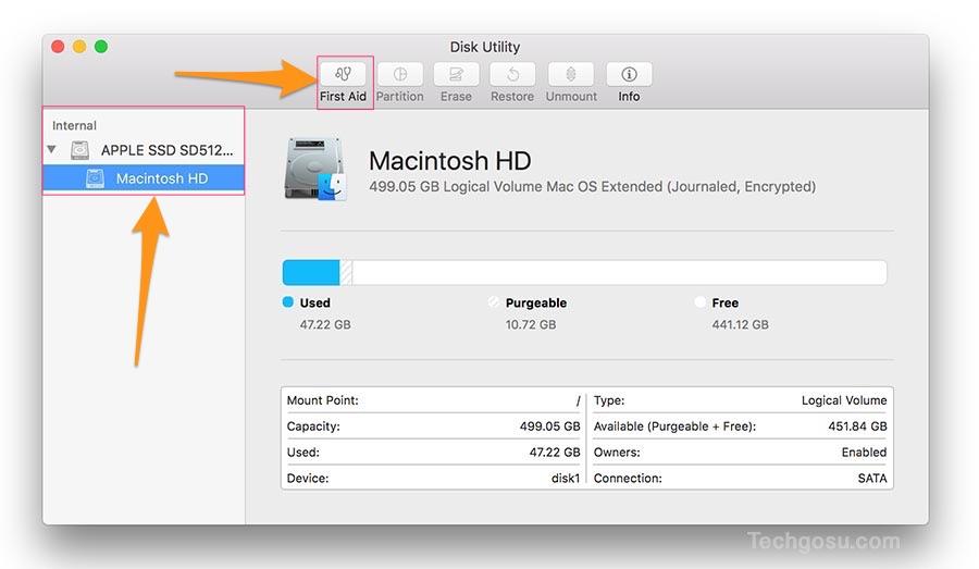 kiểm tra ổ cứng với disk utility