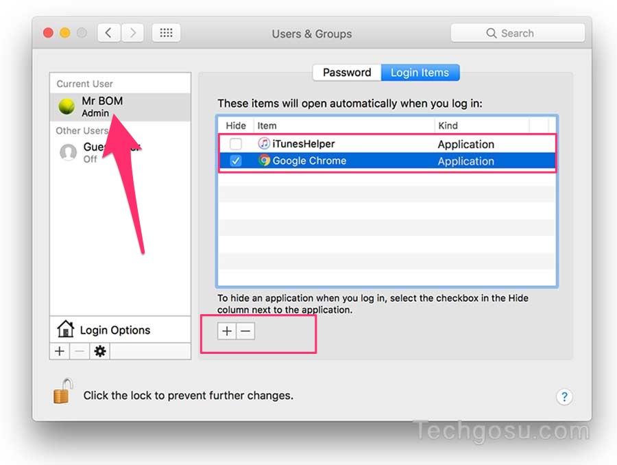 tắt ứng dụng khởi động trên mac osx