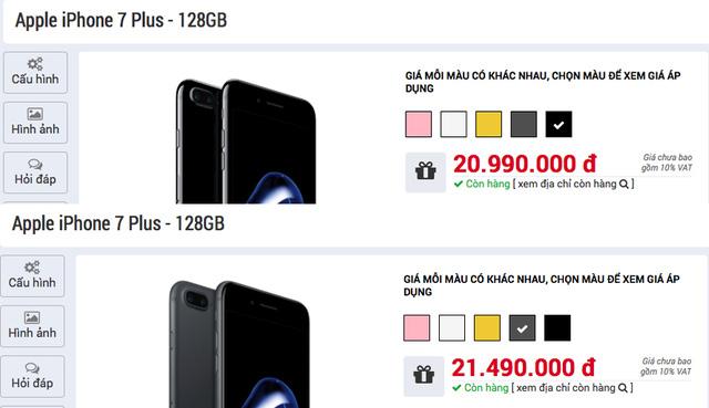 giá bán iphone 7 plus 2017