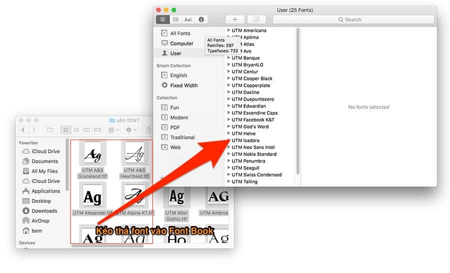 cài đặt font cho mac osx