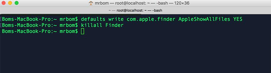 hiển thị file bị ẩn trên mac osx
