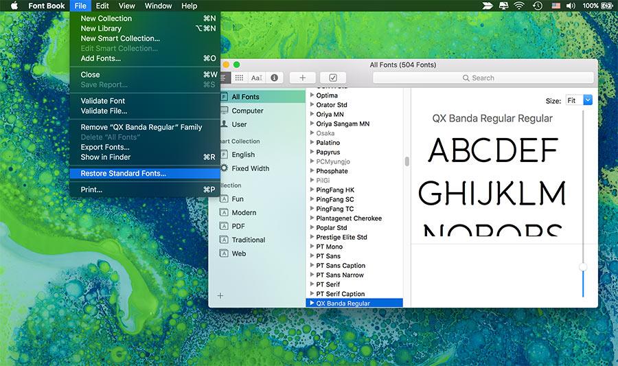 khôi phục lại font mặc định trên mac osx