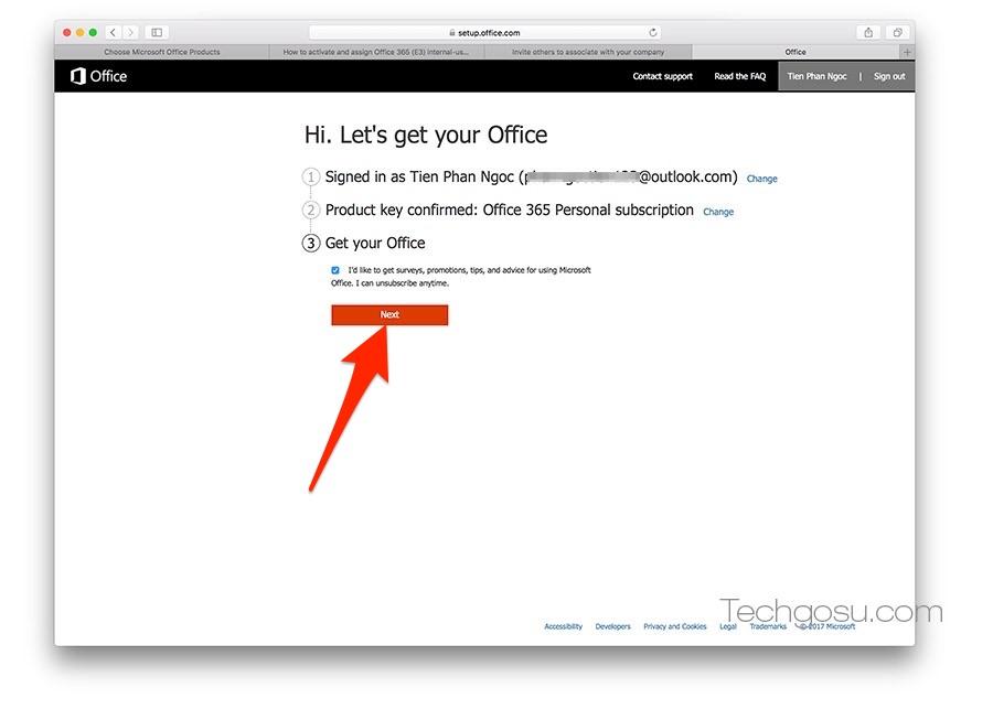 kích hoạt office 365