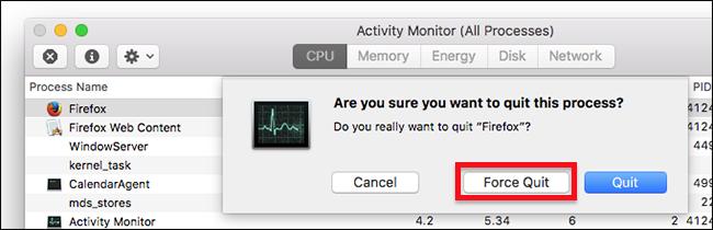 tắt ứng dụng bằng activity monitor