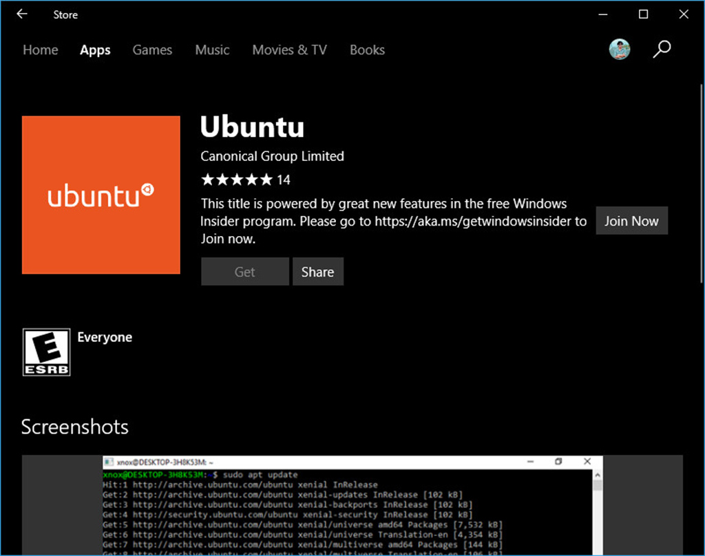 ubutun trên windows store