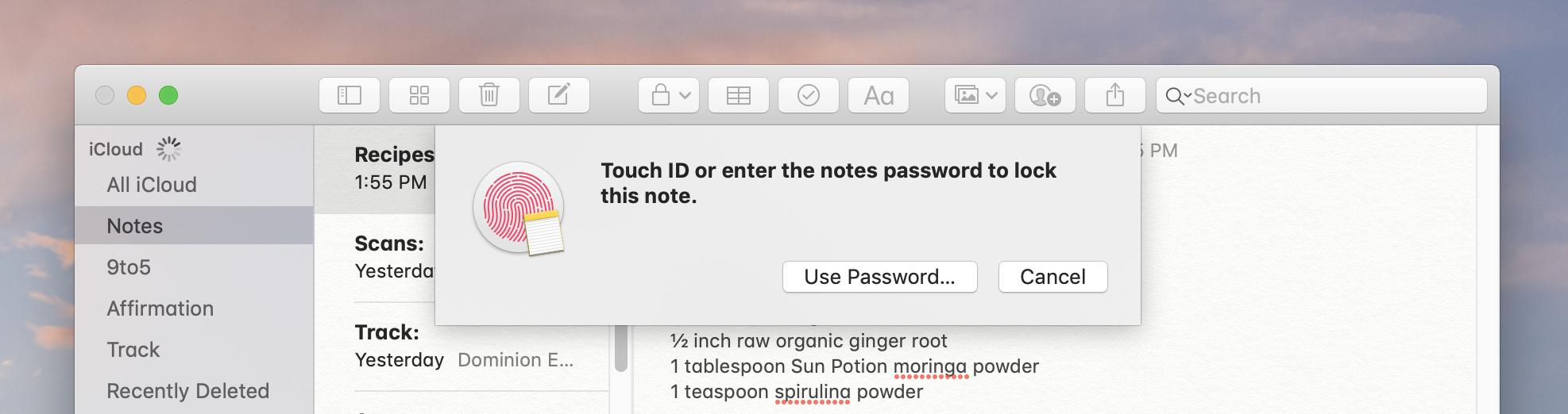 cách khoá note trên mac